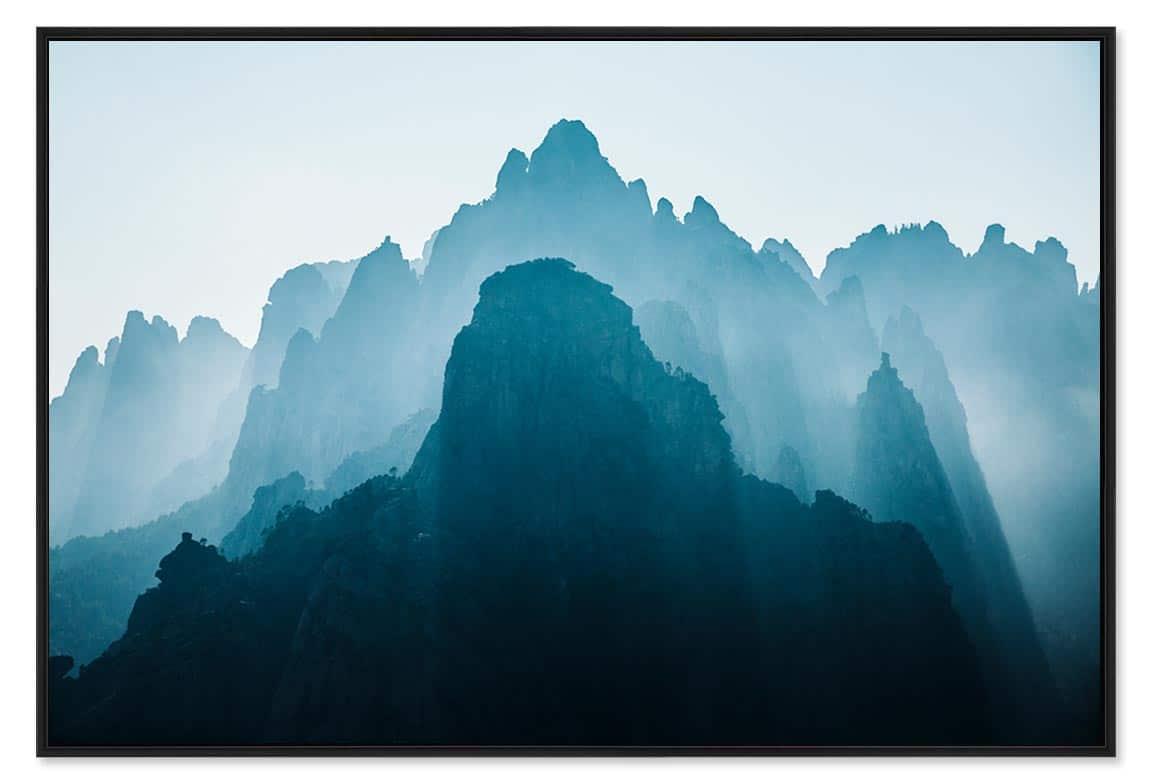 Photo montagne france avec les Aiguilles de Bavella en Corse, tirage d'art caisse américaine ale