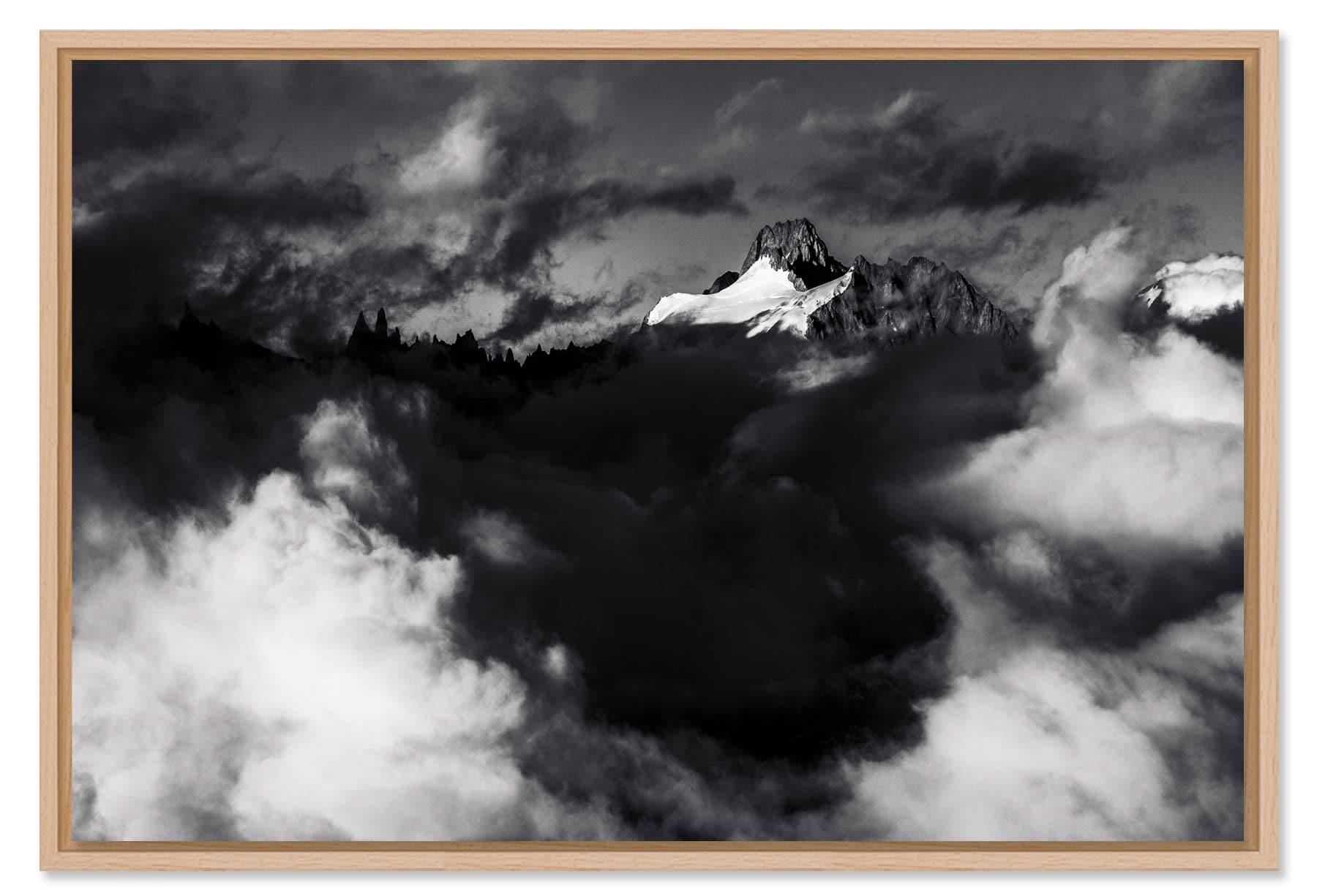 Photo montagne des Alpes tirage Fine Art caisse américaine bois chêne