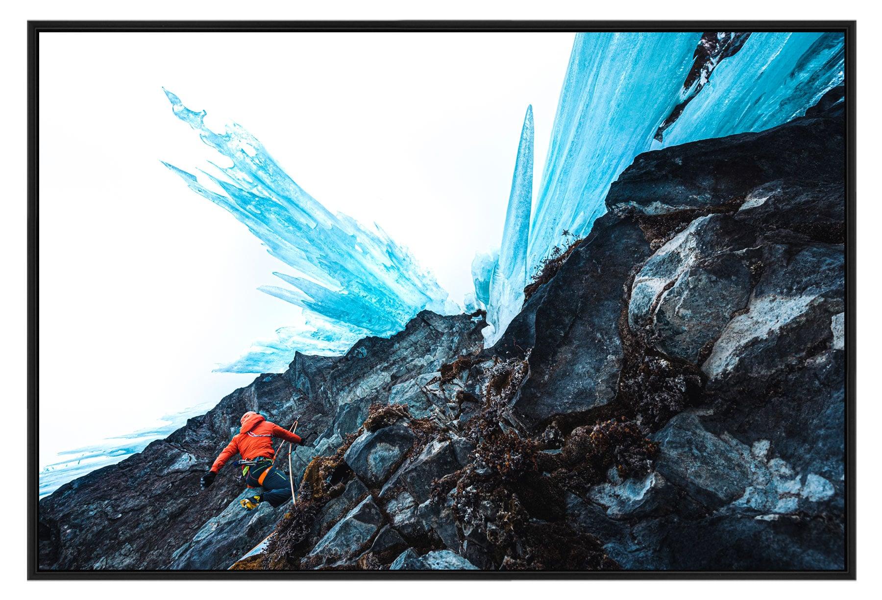 Tirage photo de cascade de glace et de ski