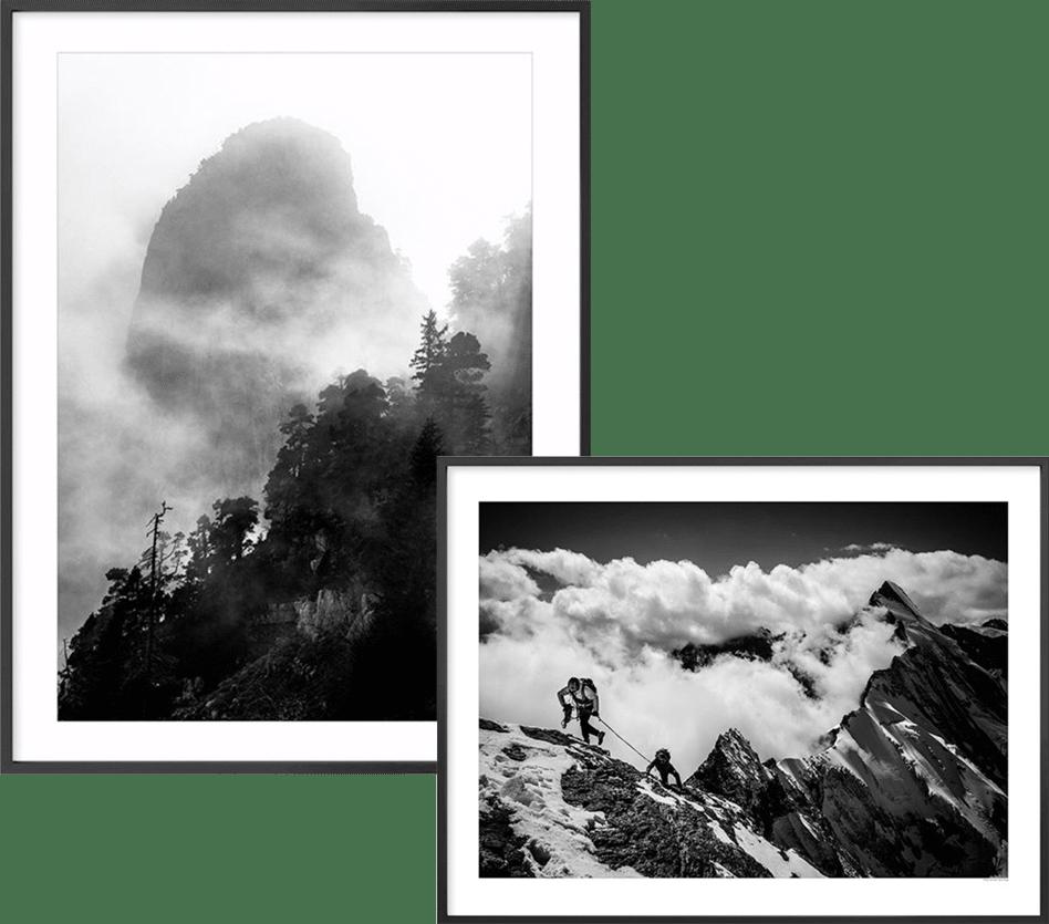 Photo montagne noir et blanc