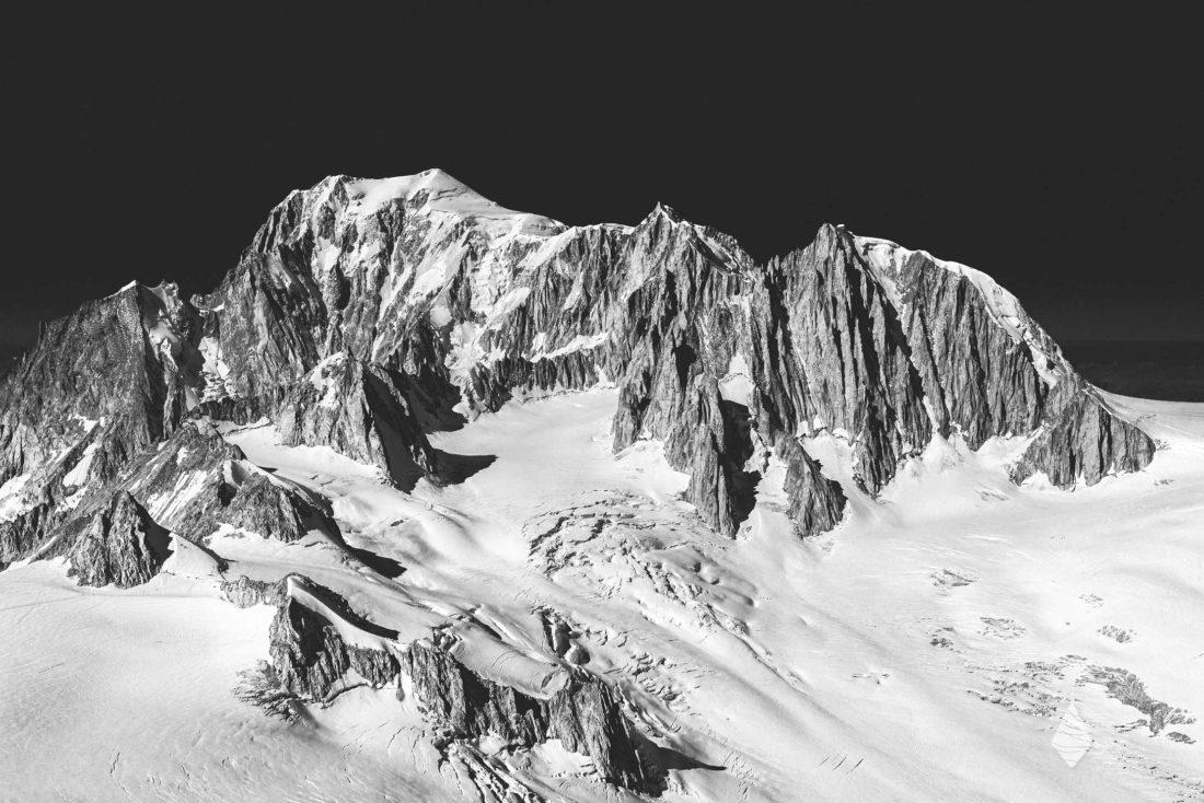 Tirages photo du Massif du Mont-Blanc en noir et blanc