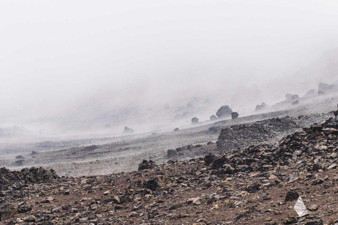 Photo du flanc du cratère du Kilimandjaro